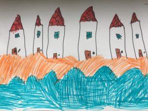 tekening van de strandhuisjes door Evi
